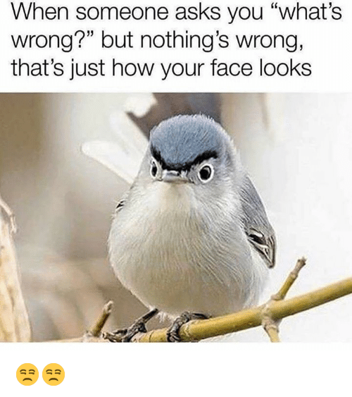 """Dank, Asks, and 🤖: When someone asks you """"what's  wrong?"""" but nothing's wrong,  that's just how your face looks 😒😒"""