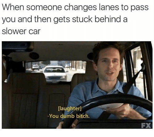 Bitch, Cars, and Dank: When someone changes lanes to pass  you and then gets stuck behind a  slower car  [laughter]  -You dumb bitch.