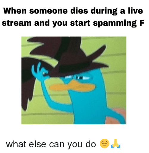 live stream: When someone dies during a live  stream and you start spamming F what else can you do 😔🙏