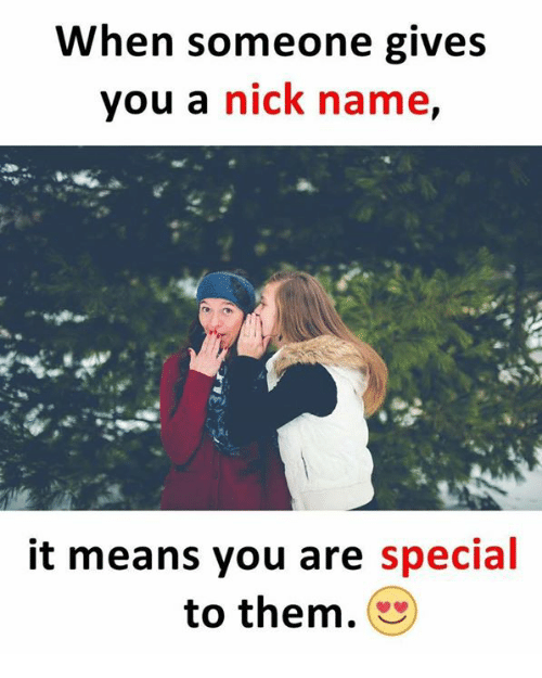Memes, Nick, and 🤖: When someone gives  you a nick name,  it means you are special  to them.
