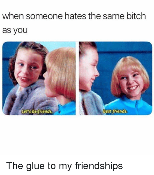 Bitch, Friends, and Best: when someone hates the same bitch  as you  Let's beifriends  Best friends The glue to my friendships