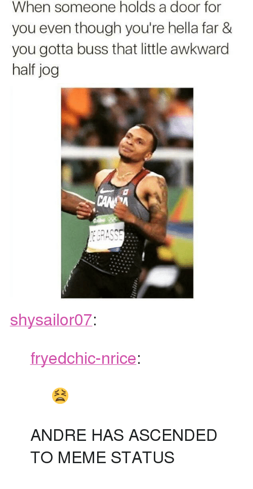 "Meme Status: When someone holds a door for  you even though you're hella far &  you gotta buss that little awkward  half jog <p><a href=""http://shysailor07.tumblr.com/post/149393890423/fryedchic-nrice-andre-has-ascended-to-meme"" class=""tumblr_blog"">shysailor07</a>:</p>  <blockquote><p><a class=""tumblr_blog"" href=""http://fryedchic-nrice.tumblr.com/post/149055593796"">fryedchic-nrice</a>:</p> <blockquote> <p>😫</p> </blockquote>  <p>ANDRE HAS ASCENDED TO MEME STATUS</p></blockquote>"