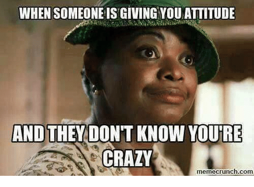 Crazy, Dank, and 🤖: WHEN SOMEONE IS GIVING YOUATTITUDE  AND THEY DONT KNOW YOURE  CRAZY  memecrunch.com