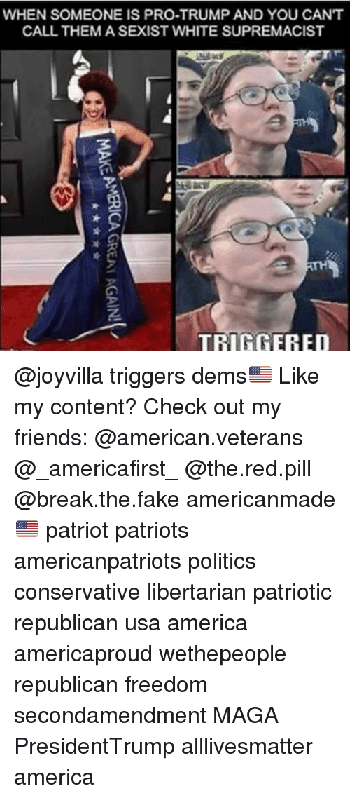 All Lives Matter, America, and Fake: WHEN SOMEONE IS PRO-TRUMP AND YOU CANT  CALL THEM A SEXIST WHITE SUPREMACIST  TRIGGERED @joyvilla triggers dems🇺🇸 Like my content? Check out my friends: @american.veterans @_americafirst_ @the.red.pill @break.the.fake americanmade🇺🇸 patriot patriots americanpatriots politics conservative libertarian patriotic republican usa america americaproud wethepeople republican freedom secondamendment MAGA PresidentTrump alllivesmatter america
