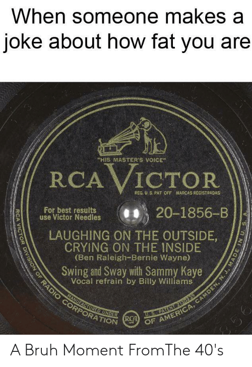 """Kaye: When someone makes a  joke about how fat you are  """"HIS MASTER'S VOICE  RCA VICTOR  REG. U S. PAT OFF HARCAS REGISTRADAS  For best results  use Victor Needles  20-1856-B  LAUGHING ON THE OUTSIDE,  CRYING ON THE INSIDE  (Ben Raleigh--Bernie Wayne)  Swing and Sway with Sammy Kaye  Vocal refrain by Billy Williams  MANUFACTURED UNDER  U.S.. PATENT21302  SION OF RADIO CORPORATION R OF AMERICA, CAMDEN, N. J., MAD  256 A Bruh Moment FromThe 40's"""