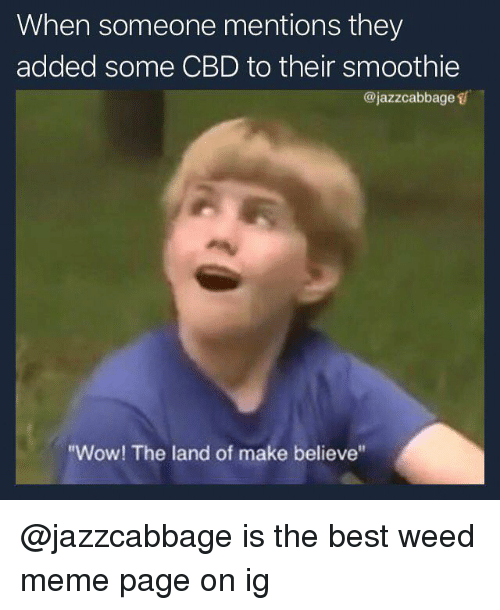 """weed meme: When someone mentions they  added some CBD to their smoothie  @jazzcabbage s  """"Wow! The land of make believe @jazzcabbage is the best weed meme page on ig"""