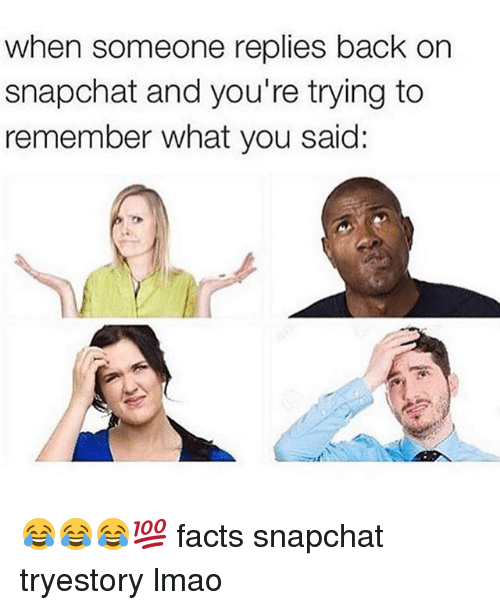 Facts, Lmao, and Snapchat: when someone replies back on  snapchat and you're trying to  remember what you said: 😂😂😂💯 facts snapchat tryestory lmao