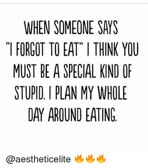 Special Kind Of Stupid: WHEN SOMEONE SAYS  FORGOT TO EAT ITHINK YOU  MUST BE A SPECIAL KIND OF  STUPID PLAN MY WHOLE  DAY AROUND EATING @aestheticelite 🔥🔥🔥