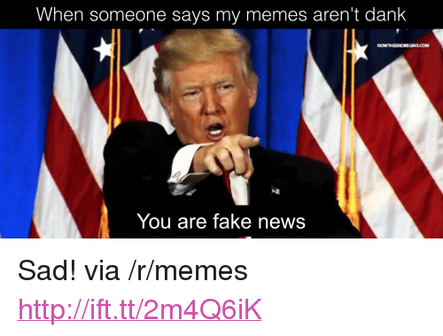 "Dank, Fake, and Memes: When someone says my memes aren't dank  NOWTHEENDBEGINS.COM  You are fake news <p>Sad! via /r/memes <a href=""http://ift.tt/2m4Q6iK"">http://ift.tt/2m4Q6iK</a></p>"