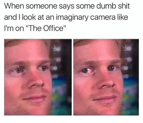 "Dumb, Shit, and The Office: When someone says some dumb shit  and I look at an imaginary camera like  I'm on ""The Office"""