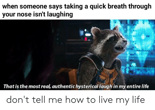 Dont Tell Me How To Live My Life: when someone says taking a quick breath through  your nose isn't laughing  That is the most real, authentic hysterical laugh in my entire life don't tell me how to live my life