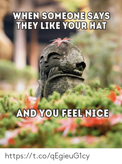 When Someone Says: WHEN SOMEONE SAYS  THEY LIKE YOUR HAT  AND YOU FEEL NICE https://t.co/qEgieuG1cy