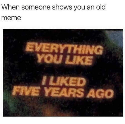 Meme, Old, and You: When someone shows you an old  meme  EVERYTHING  YOU UIKE  LIKED  FIVE YEARS AGO