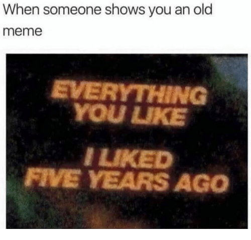 Meme, Old, and You: When someone shows you an old  meme  EVERYTHING  YOU UKE  LIKED  FIVE YEARS AGO