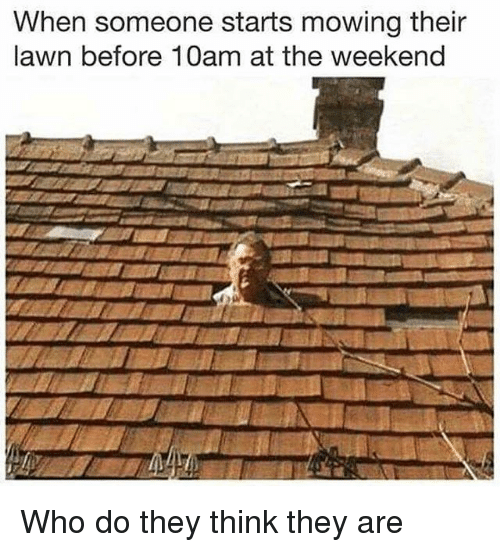 Memes, The Weekend, and 🤖: When someone starts mowing their  lawn before 10am at the weekend Who do they think they are