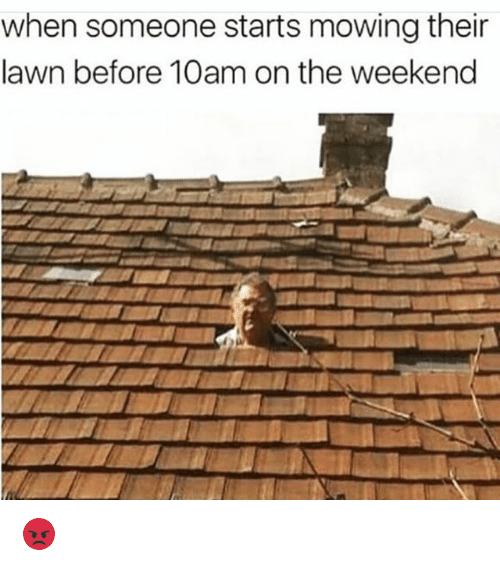 Funny, The Weekend, and Weekend: when someone starts mowing their  lawn before 10am on the weekend 😡