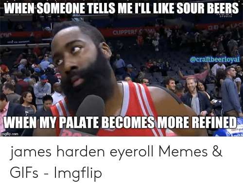 James Harden Memes: WHEN SOMEONE TELLS ME I'LL LIKE SOUR BEERS  CLIPPERSC  @craftbeerloyal  WHEN MY PALATE BECOMES MORE REFINED  imgflip.com james harden eyeroll Memes & GIFs - Imgflip