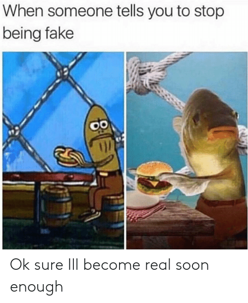 Ok Sure: When someone tells you to stop  being fake Ok sure Ill become real soon enough