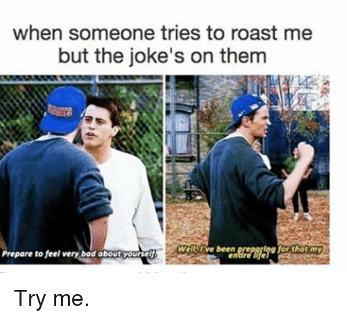 Memes, Roast, and Try Me: when someone tries to roast me  but the joke's on them  Well rve been  Prepare to feel very bod obout Yourself Try me.