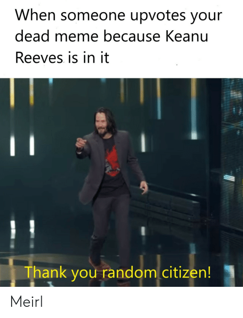 Dead Meme: When someone upvotes your  dead meme because Keanu  Reeves is in it  Thank you random citizen! Meirl