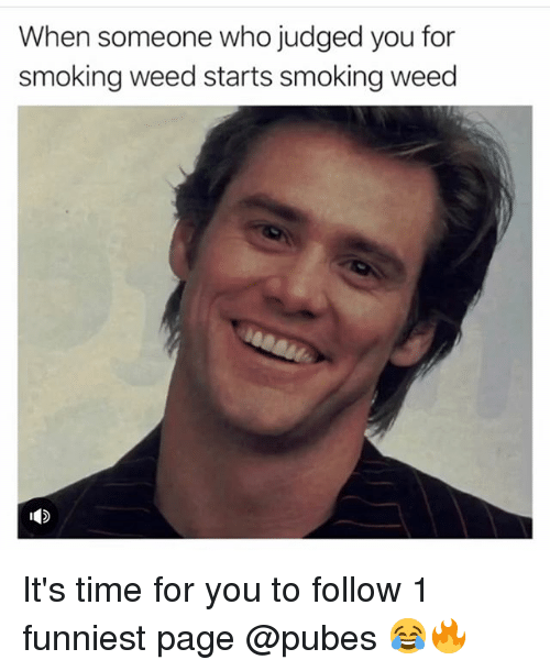 Funny, Smoking, and Weed: When someone who judged you for  smoking weed starts smoking weed It's time for you to follow 1 funniest page @pubes 😂🔥