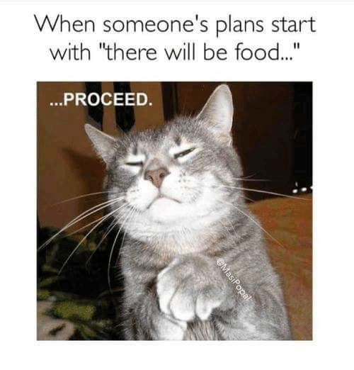 when someone s plans start with there will be food proceed
