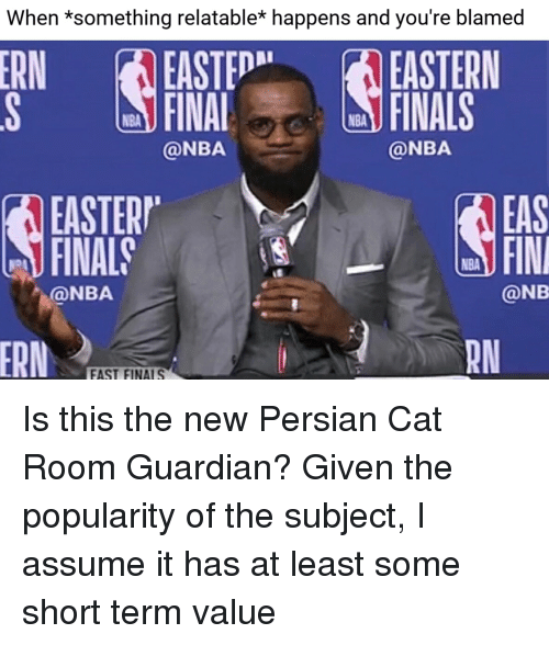 persian cat: When *something relatable* happens and you're blamed  ERN EASTEDNA EASTERN  S FINALFINALS  NBA  NBA  @NBA  @NBA  EASTERP  FINAL  EAS  FIN  NBA  @NBA  @NB  RN  FAST FINALS Is this the new Persian Cat Room Guardian? Given the popularity of the subject, I assume it has at least some short term value