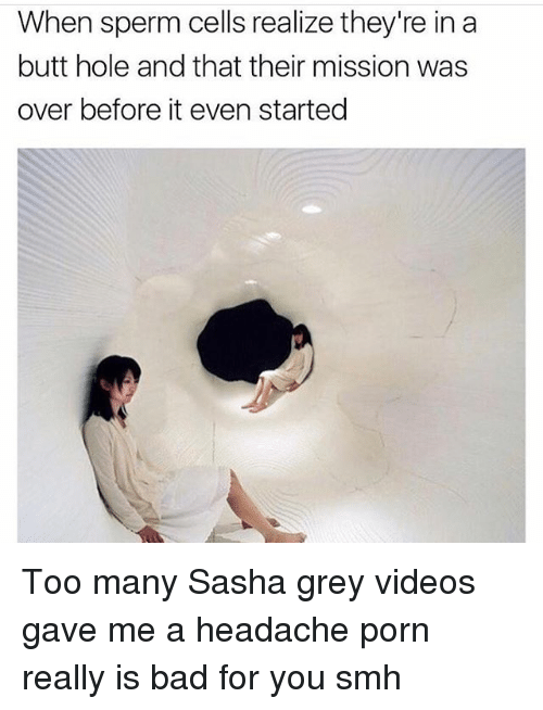 Bad, Butt, and Memes: When sperm cells realize they're in a  butt hole and that their mission was  over before it even started Too many Sasha grey videos gave me a headache porn really is bad for you smh