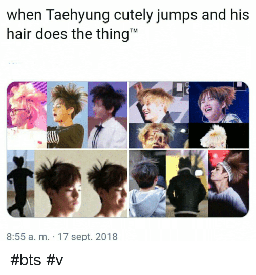 """bts v: when Taehyung cutely jumps and his  hair does the thing""""  TM  8:55 a. m. 17 sept. 2018 #bts #v"""