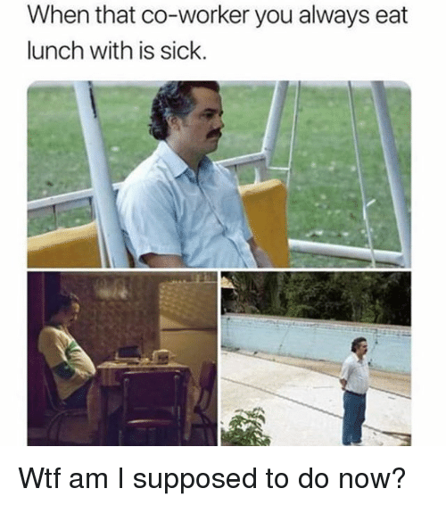 Wtf, Girl Memes, and Sick: When that co-worker you always eat  lunch with is sick. Wtf am I supposed to do now?