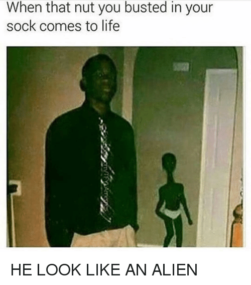 Memes, Aliens, and Alien: When that nut you busted in your  sock comes to life HE LOOK LIKE AN ALIEN