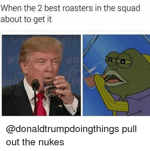 Squad, Best, and Pull Out: When the 2 best roasters in the squad  about to get it @donaldtrumpdoingthings pull out the nukes