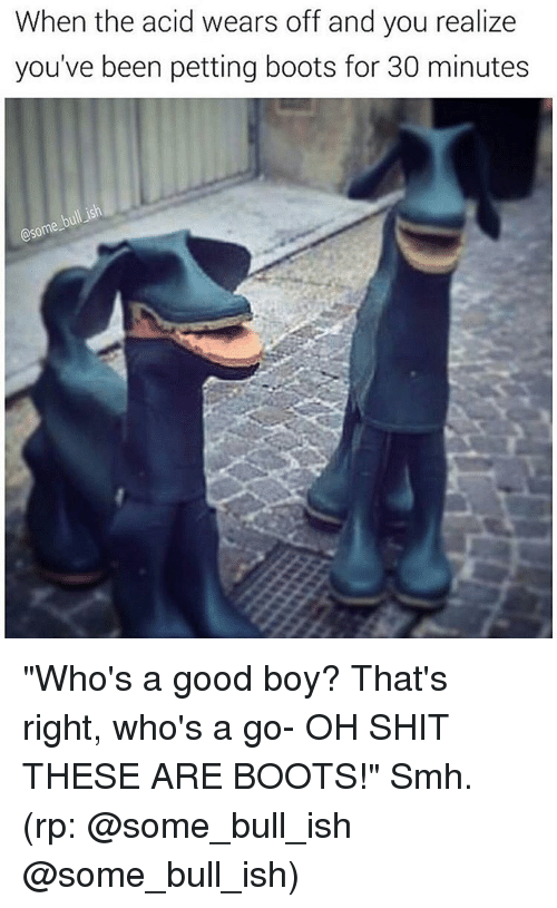 """Memes, 🤖, and Acid: When the acid wears off and you realize  you've been petting boots for 30 minutes  @some- """"Who's a good boy? That's right, who's a go- OH SHIT THESE ARE BOOTS!"""" Smh. (rp: @some_bull_ish @some_bull_ish)"""