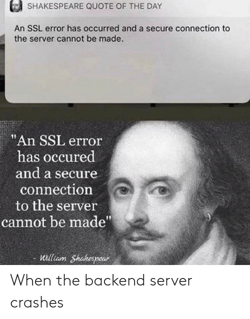 Crashes: When the backend server crashes