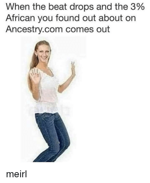 ancestry.com: When the beat drops and the 3%  African you found out about on  Ancestry.com comes out meirl