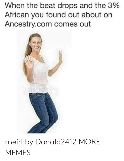 Ancestry: When the beat drops and the 3%  African you found out about on  Ancestry.com comes out meirl by Donald2412 MORE MEMES