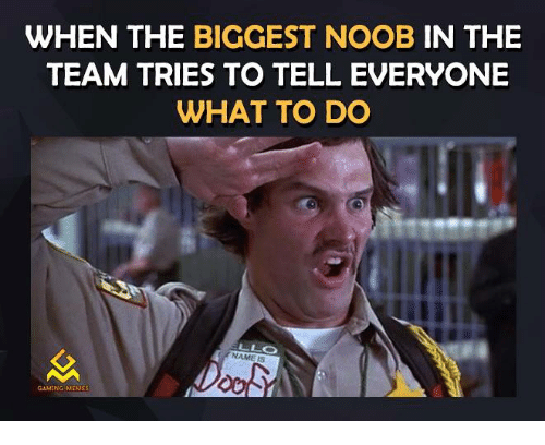 Gaming Memes: WHEN THE BIGGEST NOOB IN THE  TEAM TRIES TO TELL EVERYONE  WHAT TO DO  GAMING MEMES