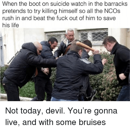 Life, Memes, and Devil: When the boot on suicide watch in the barracks  pretends to try killing himself so all the NCOs  rush in and beat the fuck out of him to save  his life Not today, devil. You're gonna live, and with some bruises