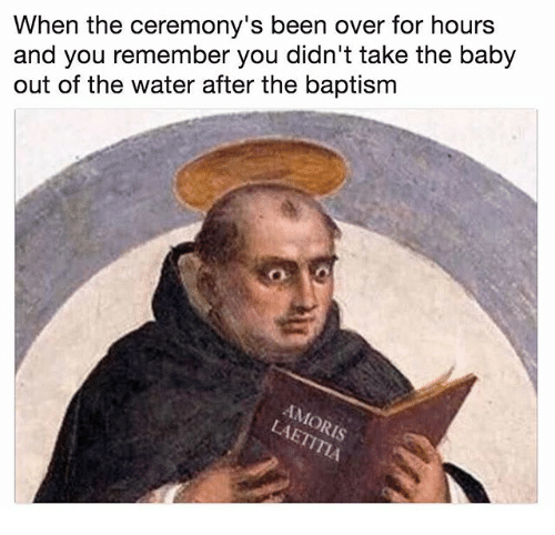 Water, Classical Art, and Baby: When the ceremony's been over for hours  and you remember you didn't take the baby  out of the water after the baptism  Is