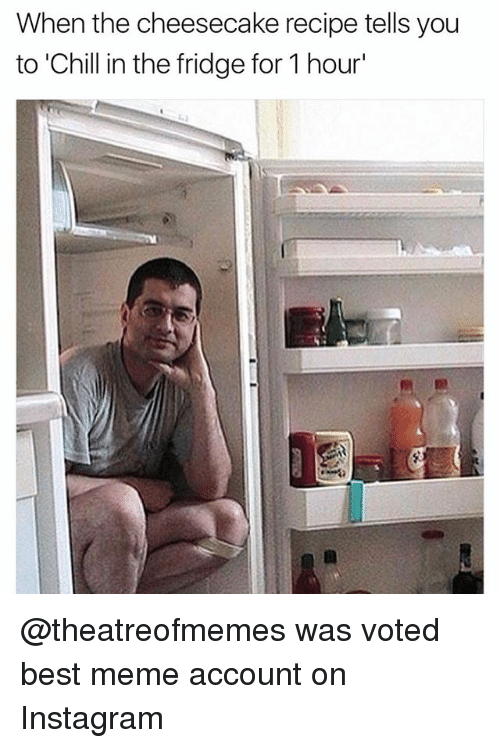 Chill, Instagram, and Meme: When the cheesecake recipe tells you  to 'Chill in the fridge for 1 hour' @theatreofmemes was voted best meme account on Instagram