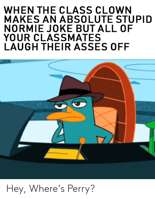 Normie: WHEN THE CLASS CLOWN  MAKES AN ABSOLUTE STUPID  NORMIE JOKE BUT ALL OF  YOUR CLASSMATES  LAUGH THEIR ASSES OFF Hey, Where's Perry?