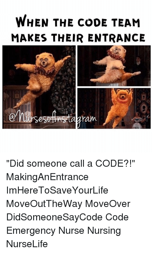 "Memes, Nursing, and 🤖: WHEN THE CODE TEAM  MAKES THEIR ENTRANCE ""Did someone call a CODE?!"" MakingAnEntrance ImHereToSaveYourLife MoveOutTheWay MoveOver DidSomeoneSayCode Code Emergency Nurse Nursing NurseLife"