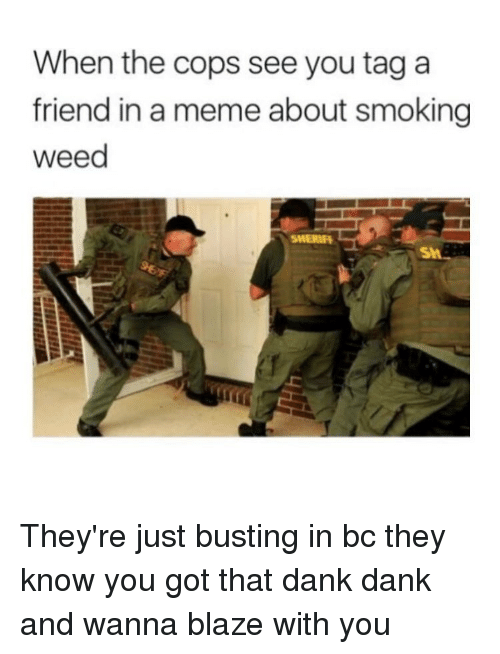 Dank, Meme, and Smoking: When the cops see you tag a  friend in a meme about smoking  weed  SMERIH They're just busting in bc they know you got that dank dank and wanna blaze with you