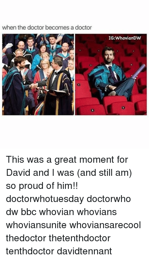 moment: when the doctor becomes a  doctor  IG: WhovianDW This was a great moment for David and I was (and still am) so proud of him!! doctorwhotuesday doctorwho dw bbc whovian whovians whoviansunite whoviansarecool thedoctor thetenthdoctor tenthdoctor davidtennant