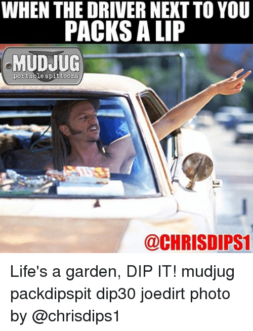 Memes, 🤖, and Photos: WHEN THE DRIVER NEXT TO YOU  PACKS ALIP  MUDJUG  portable spittoons  @CHRISDIPS1 Life's a garden, DIP IT! mudjug packdipspit dip30 joedirt photo by @chrisdips1