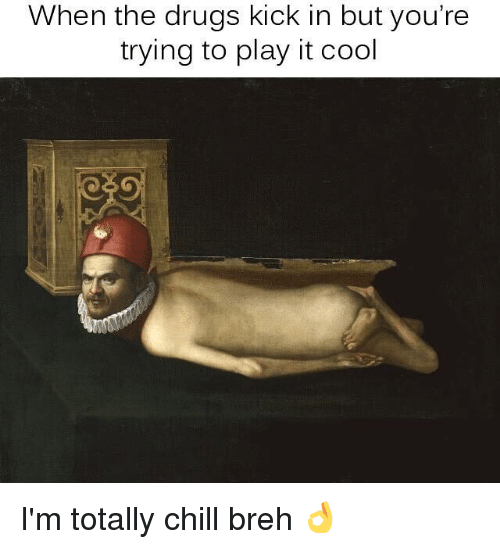 Chill, Drugs, and Memes: When the drugs kick in but you're  trying to play it cool I'm totally chill breh 👌
