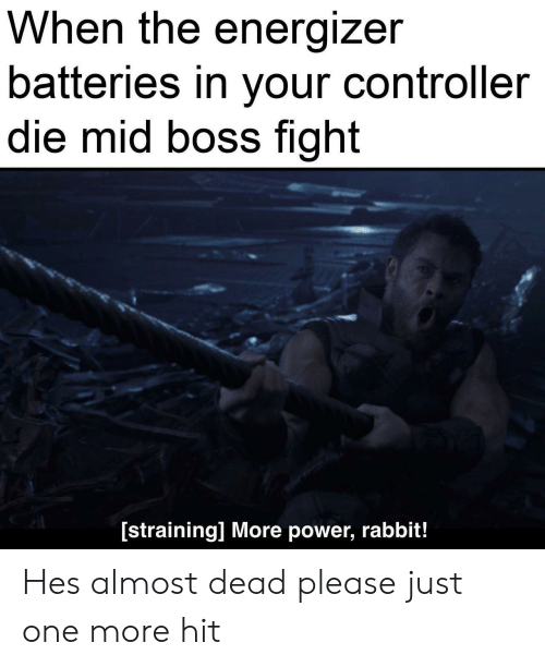 Rabbit: When the energizer  batteries in your controller  die mid boss fight  [straining] More power, rabbit! Hes almost dead please just one more hit