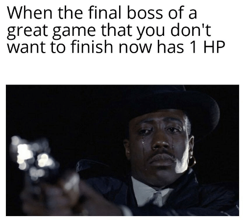 Final boss: When the final boss of a  great game that you don't  want to finish now has 1 HP