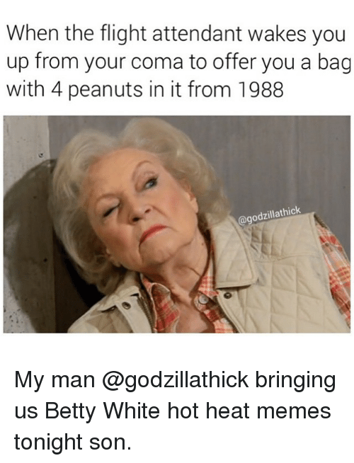 Betty White, Meme, and Memes: When the flight attendant wakes you  up from your coma to offer you a bag  with 4 peanuts in it from 1988  thick  odzilla My man @godzillathick bringing us Betty White hot heat memes tonight son.
