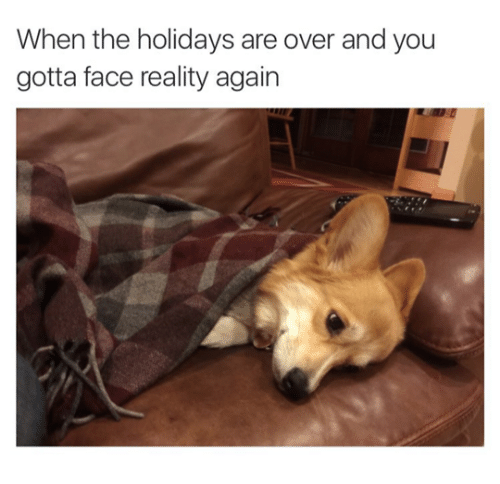 the holidays: When the holidays are over and you  gotta face reality again